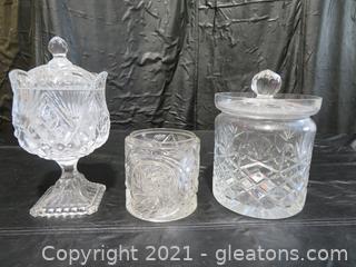 Three Cut Glass Jars