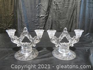 Rosepoint Crystal Candleholder Pair