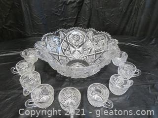 Gorgeous Cut Glass Punch Bowl and 12 Cups