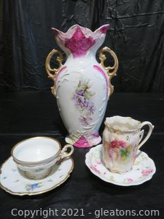 Vintage Porcelain Vase and Two German Tea Cups and Saucers