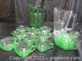 Green Uranium Depression Glass and Two Pitchers