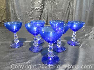 Bryce-Aristocrat Cobalt Blue, Clear Bubble Stem Champagne Glasses