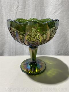 Imperial Glass Green Carnival Bowl