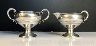 Sterling Silver Creamer and Open Sugar Set by Mueck-Cary