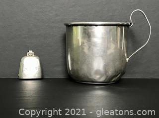 Antique Sterling Silver Baby Cup and Rattle
