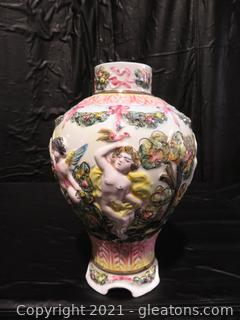 Vintage Italian Porcelain Capodimonte Style Urn
