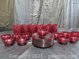 Vintage Ruby Red Plates, Bowls and Glasses