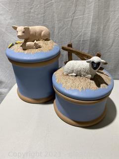 Ceramic Storage Jars with Animal Sculptures on the Lids.