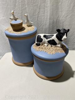 Ceramic Storage Jars with Animal Sculptures on the Lids