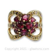 Gorgeous Ruby and Diamond Ring in 14kt Yellow Gold