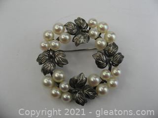 Sterling Silver Pearl Brooch