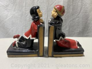 Oriental Girls and Boy Porcelain Bookends
