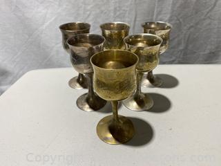 Vintage Hand Etched Brass Goblets.