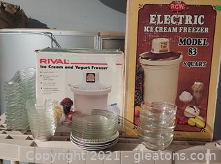 Sundae Fun Day- 2 Electric Ice Cream Freezers and Dishes to Serve It In