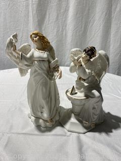 Set of 2 Beautiful Porcelain Angels