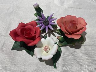 Set of Capodimonte Porcelain Flowers