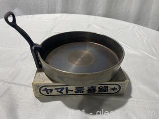 Asian Iron Cooking Pan W/Handle Cast Iron, Good Condition