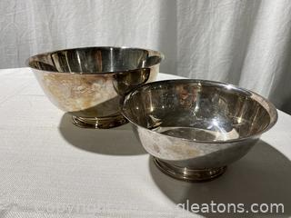 Set of 2 Silver Plated Bowls