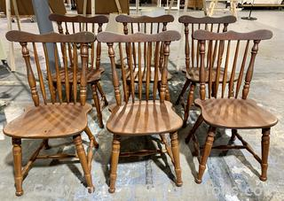 6 Sturdy Fan Back Windsor Chairs