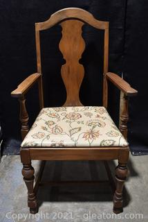Antique Walnut Armed Dining Chair - Upholstered Seat