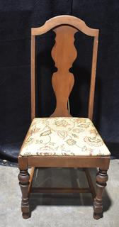 1 Antique Walnut Side Chair Upholstered Seat