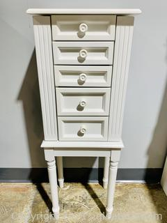 Charming White Finish Jewelry Armoire