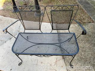 Small Scale Black Wrought Iron Bench