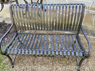 Hampton Bay Black Wrought Iron Outdoor Bench