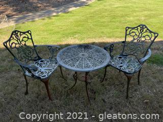 Cast Aluminum Garden Table W/ Two Arm Chairs