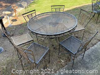 Black Wrought Iron Outdoor Dining Table W/(6) Chairs (Lot of 7)