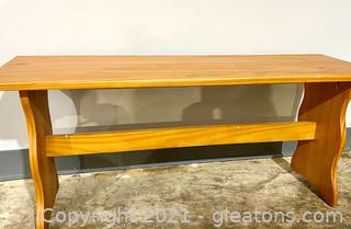 Vintage Knotty Pine Breakfast Table and Bench