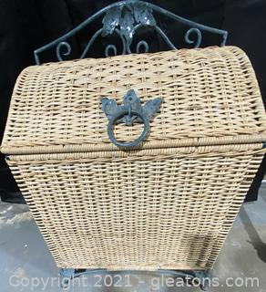 Chinoiserie Wicker and Green Wrought Iron Chest