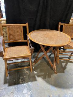 Unique 20th Century Bamboo Folding Table and 2 Chairs Set