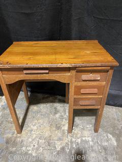 Unique Mid Century Small Desk with Primitive Chair