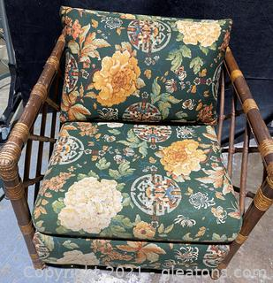 Lovely Mid Century Upholstered Rattan Chair
