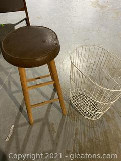 Lot of Stool and Basket