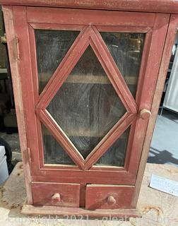 Old Pottery Barn Red Wall Cabinet
