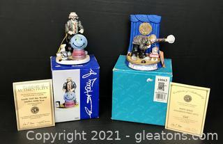Emmett Kelly Jr. Miniature Figurines by Flambro Lot of 2