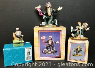 Emmett Kelly Jr. Miniature Figurines by Flambro, Collection of 3