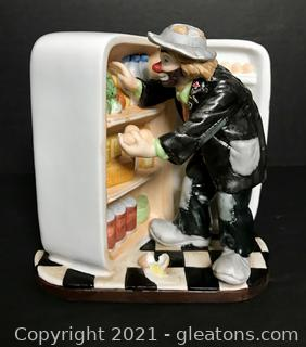 "Emmett Kelly Jr. Figurine by Flambro ""Refrigerator"" #9787"