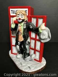 """Emmett Kelly Jr. Figurine by Flambro """"In the British Phone Booth"""" #9787"""