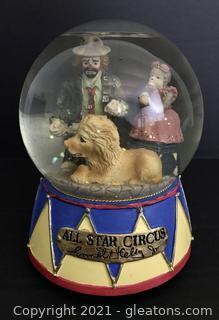 "Emmett Kelly Jr. Musical Waterglobe by Flambro ""All Star Circus"" #9449"