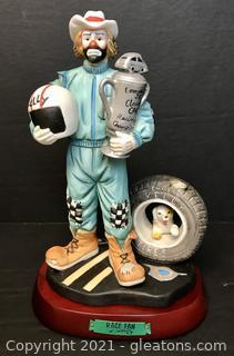 """Emmett Kelly Jr. Figurine by Flambro """"Race Fan"""" #9629"""