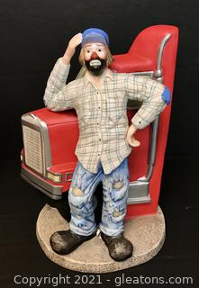 """Emmett Kelly Jr. Figurine by Flambro """"The Trucker"""" #9642"""