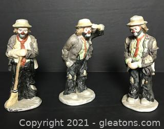 Emmett Kelly Jr. 3pc Miniature Figurines Lot