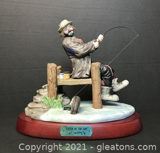 """Emmett Kelly Jr. Limited Edition Figurine by Flambro """"Catch of The Day"""" #9738"""