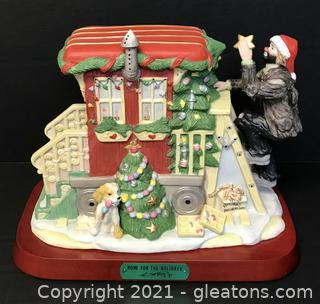 """Emmett Kelly Jr. Limited Edition Figurine by Flambro """"Home for the Holidays"""" #9940"""