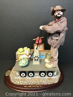"""Emmett Kelly Jr. Real Rags Limited Edition Music Box """"Economy Class"""" #9484"""