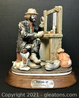 """Emmett Kelly Jr. Limited Edition Figurine by Flambro """"Making Up"""" #9852"""