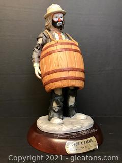 "Emmett Kelly Jr. Limited Edition Figurine by Flambro ""Over a Barrel"" #9850"
